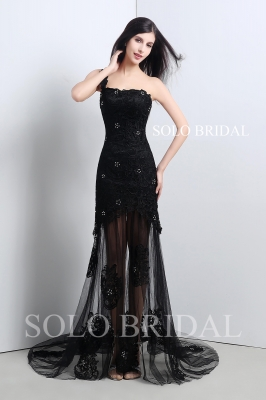 Black tulle and lace transparent skirt proom dress A17103