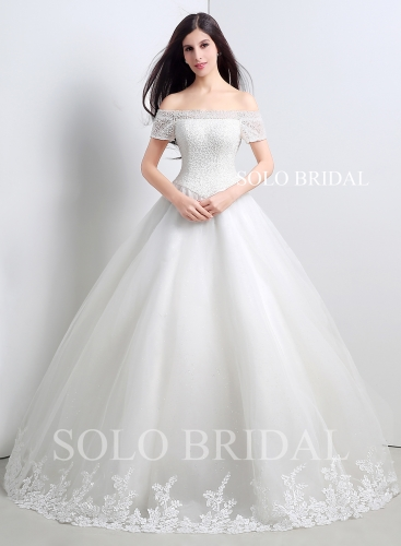 Ivory heavy beaded bodice off shoulder short sleeves a line wedding dress floor length A50109