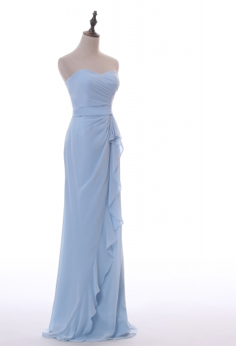 Light Blue chiffon Sheath Column ruffles Prom Dress
