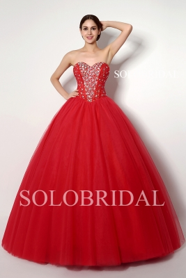 Red sweetheart coset back tulle ball gown wedding dress B32258