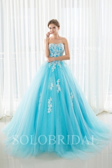 Sweetheart sky blue strapless lace up A line proom dress sweep train D342934