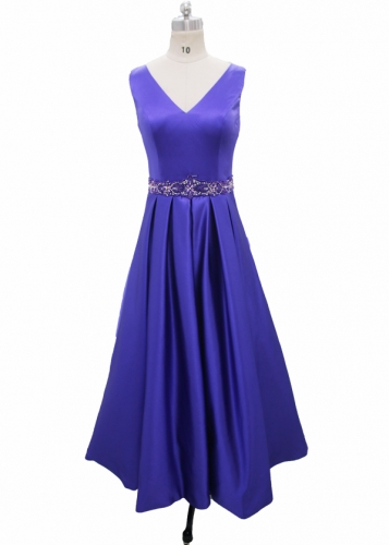 Satin Dress with Beaded belt Tea Length Dress Mother of Bridal Dress