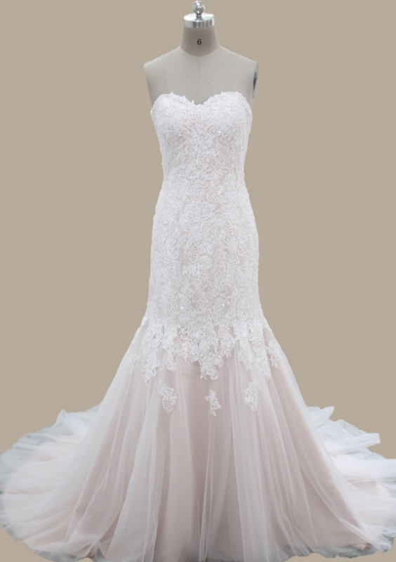 2017 Hot Sale Blush Mermaid Beaded Lace Bridal Gown Solo Bridal ...