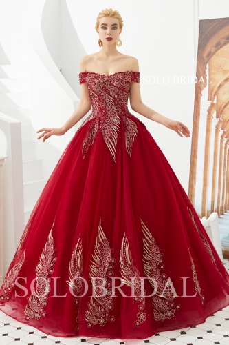 Red ball gown gold lace proom dress M323351