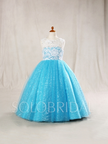 Sky Blue Flower Girl Dress Sparkle Tulle Skirt Ivory Lace Bodice724A6698s