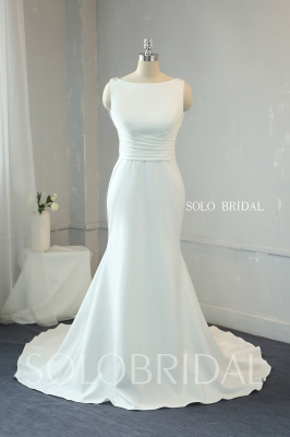 Ivory Crepe fit and flare wedding dress fully beaded dimonds back 724A9958