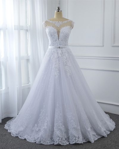 A Line Wedding Dress Hemlace Skirt Bridal Gown White