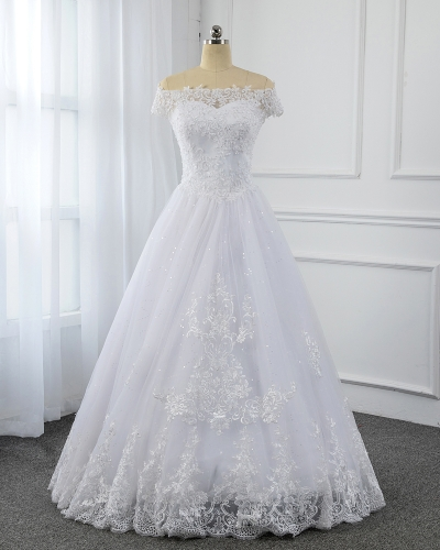 White Small A Line Tulle Wedding Dress 5U7A9813