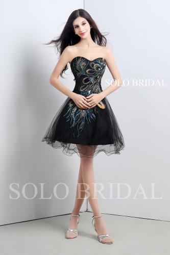 Black embroidery short dress A16102