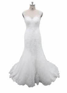 Ivory Sheath Column Lace Featured Sparkles Bridal Gown