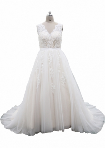 2017 Popuplar Ivory Tulle Overlay Champagne Color Satin Wedding Dress