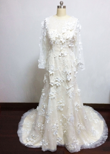 Long Sleeve Mermaid Wedding Dress Featured with Flowers