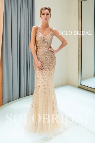 champagne full diamond luxury proom dress J946871