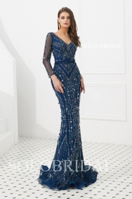 Blue sheath fully diamond proom dress L916931