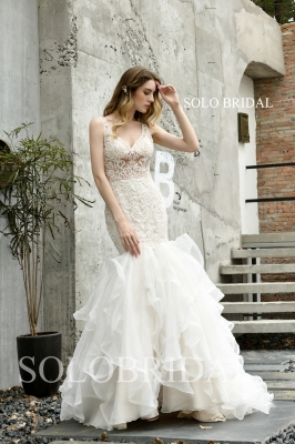 Ivory fit and flare ruffle wedding dress P483971