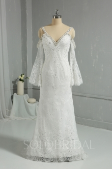 Ivory Light Lace Fully Diamond Sheath Wedding Dress DPP_1981