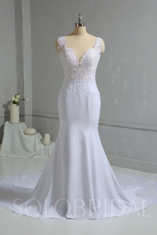 White Chiffon Mermaid Wedding Dress with Lace Train DPP_1855