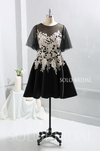 Black Embroidery Tulle Mother of Bride Dress Maid of Honor Dress 724A9323