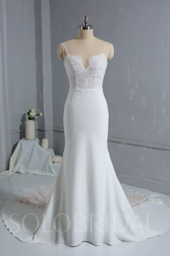 2010 Ivory Crepe Mermaid Wedding Dress with beatiful Lace Train DPP_1696