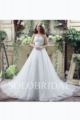 A line ivory sweetheart lace up back cathedral train organza wedding dress C30263