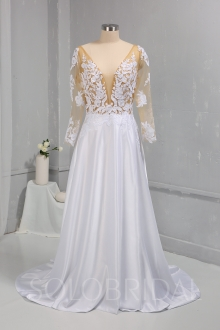 Bridal Satin Wedding Dress Sexy Bodice with long Sleeves 724A0672