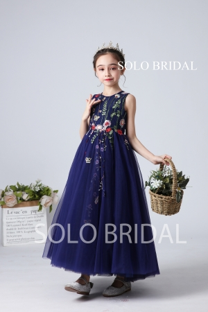 Royal blue embroidery flower girl dress slt001