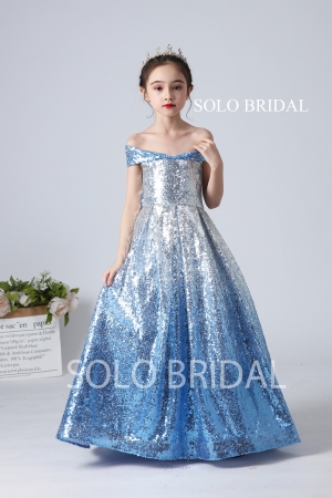 sky blue sequin popular flower girl dress slt004