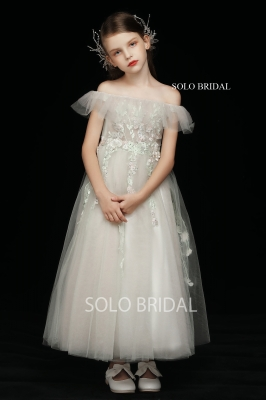 blush off shoulder a line flower girl dress tea length 5D7A3674