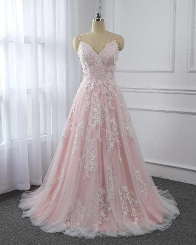 Pink Spagetti Straps Wedding Dress For Sale in Stock