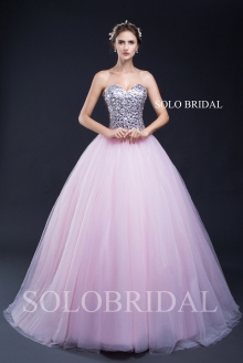 Silver dimond strapless corset pink tulle ball gown proom dress D302871