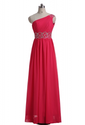 Red Chiffon Sheath Party Dress Floor Length Prom Dress
