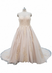 Champagne satin appliqued lace wedding dress plus size dress