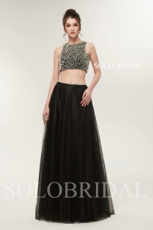 two pieces black pearl tulle proom dress H186431