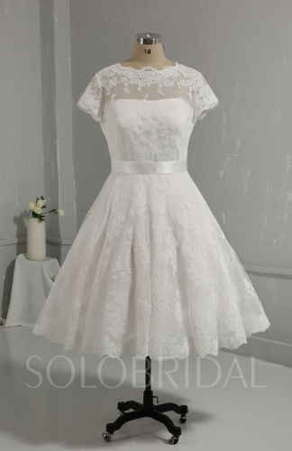 Classic Short Length Wedding Dress Whole Piece Lace Short Sleeves 724A0087