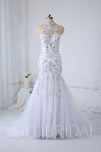 Luxury Mermaid White Wedding Dress Fully Silver Embroidery 724A1149a