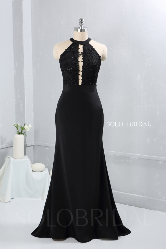 Black sweep train open front halter neck bridemaid dress party dress proom dress DPP_2650