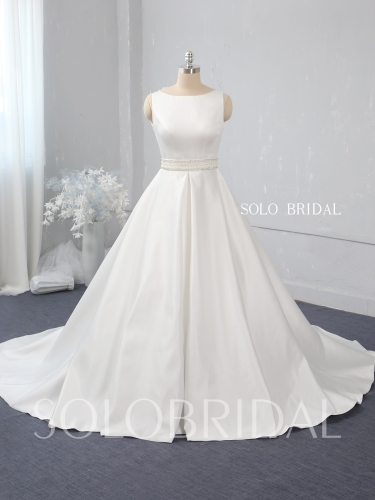Ivory a line bridal satin wedding dress 724A2435