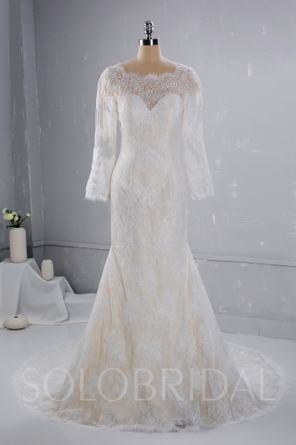 Champgane color with ivory Lace overlayed Wedding Dress 724A3333a