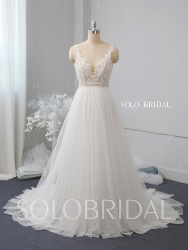 Ivory a line tulle wedding dress 724A2507