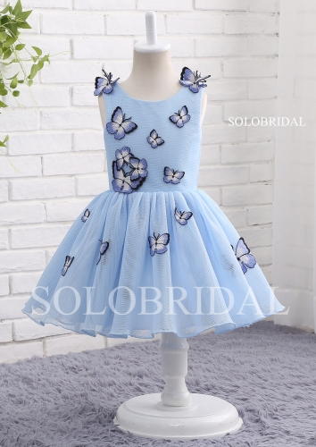 Blue butterfly flower girl dress A13801