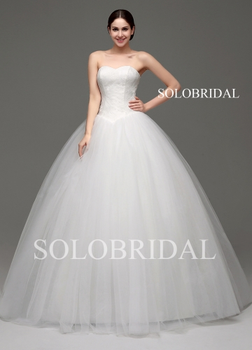 Ivory Ball Gown lace and tulle floor length lace up back wedding dress B28241