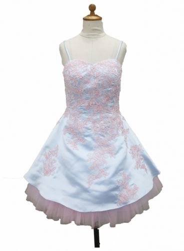 Embroidery Sky Blue Flower Girl Dress