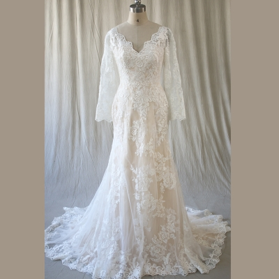 New design champagne color ivory lace bridal gown