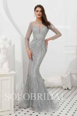 Grey fit and flare beaded proom dress L923091