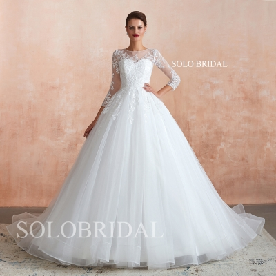 Ivory a line wedding dress N373651