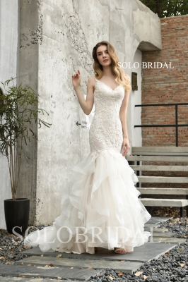 Ivory V neck fit and flare ruffle weddding dress P483951