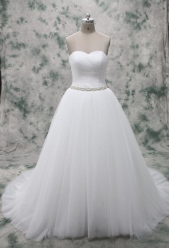 Wholesale Price For Pleated Tulle Bodice Ball Gown Skirt with Crystal Beaded Belt