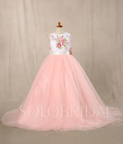 Pink Flowery Flower Girl Dress with Bow 724A6448s