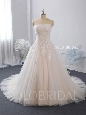 strapless A line blush wedding dress lace up back court train shiny skirt 724A7445