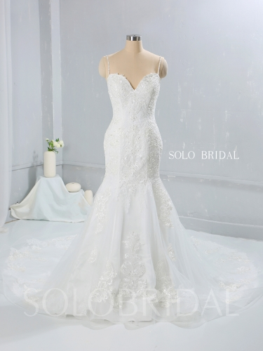 Light Ivory Sweetheart Mermaid Cathedral Train Wedding Dress 724A0011a